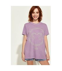 t-shirt feminina mindset obvious signos touro manga curta decote redondo lilás