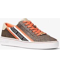 mk sneaker slade con lacci e fettuccia con logo - orange multi - michael kors