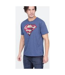 camiseta masculina com estampa super homem | dc comics | azul | p