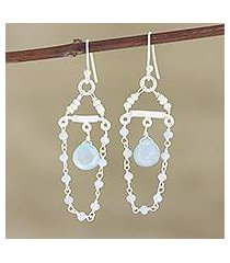 cultured pearl and chalcedony dangle earrings, 'blue chandelier' (india)