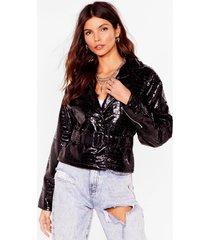 womens vinyl by us croc belted jacket - black