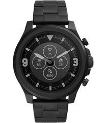 fossil men's tech latitude hr black stainless steel bracelet hybrid smart watch 48mm