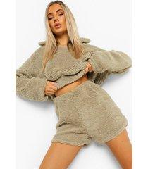mix & match satijnen tijgerprint pyjama shorts, stone