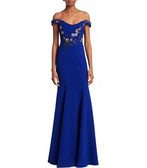 embroidered beaded appliqué off-the-shoulder gown