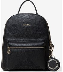 mini backpack embossed mandalas - black - u