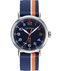 nautica n83 men's napwls912 wakeland blue/orange stripe fabric strap watch