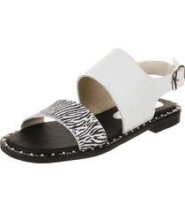 sandalia blanca zurich diana cebra