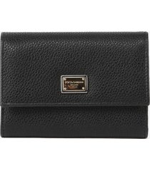 dolce & gabbana leather wallet with logo plate