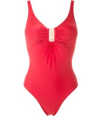 lygia & nanny mirassol ruched swimsuit - red