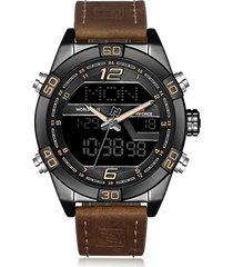 orologi da polso da uomo con cronografo in pelle con doppio display digitale naviforce
