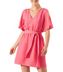 tommy bahama st. lucia split sleeve linen blend cover-up dress, size large in coral coast at nordstrom