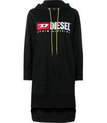 diesel logo hoodie dress - black