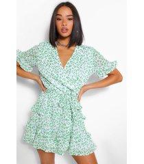 leoaprd print ruffle tea dress, green