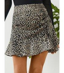 minifalda de gasa con dobladillo de volantes de leopardo blanco de yoins