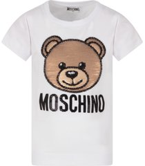 moschino black sweatshirt for girl with sequined teddy bear