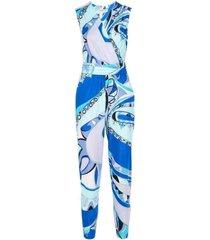 vivid print cross front jumpsuit