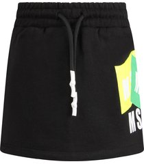 msgm black skirt with logos for girl