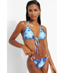 marmerprint bikini broekje met o-ring, blue