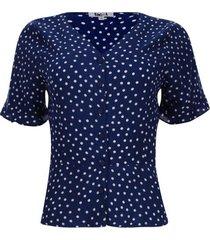 blusa escote en v estampada manga corta color azul, talla 10