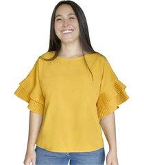 camisa con mangas plizadas para mujer x49585