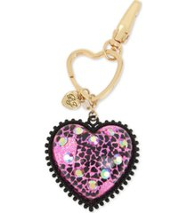 betsey johnson two-tone crystal glitter heart key chain