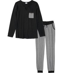 pigiama con pantaloni in flanella (nero) - bpc bonprix collection