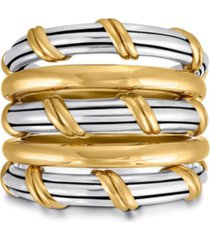 hudson stacked fan ring in two tone sterling silver
