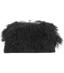 dsquared2 designer handbags, clutch with mongolian fur inserts