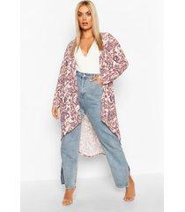 plus paisley print kimono, blush