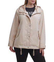 plus size women's levi's hooded peached water resistant rain jacket, size 3x - beige