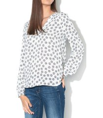 blusa de cuello tunecino delicada con estampado crudo esprit