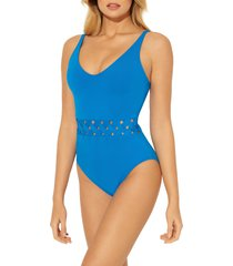 women's bleu by rod beattie basket weave one-piece swimsuit, size 12 - blue