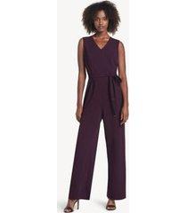tommy hilfiger women's essential v-neck jumpsuit aubergine - 4
