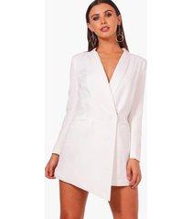 petite asymmetrische blazer jurk, wit