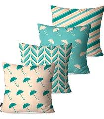kit com 4 capas para almofadas pump up decorativas verde guarda-chuvas 45x45cm