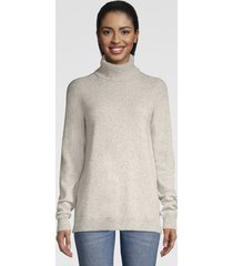 classic cashmere turtleneck sweater, grey donegal, x large
