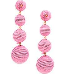 thread-wrapped ball linear earrings