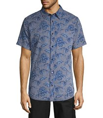 sigmon palm-print short-sleeve shirt