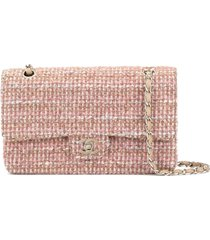 chanel pre-owned 2003-2004 tweed double flap chain shoulder bag - pink