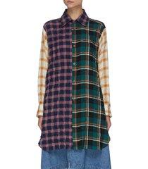 elongated patchwork check shirt