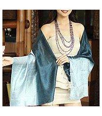 silk shawl, 'shimmering ocean' (thailand)