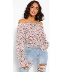 chiffon bloemenprint blouse met metallic stippen, ivoor