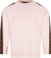 fendi pink sweater with double ff for girl