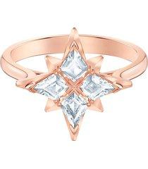 anillo con motivo swarovski symbolic star, blanco, baño en tono oro rosa