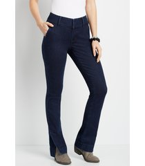 maurices womens dark wide waistband trouser jeans blue