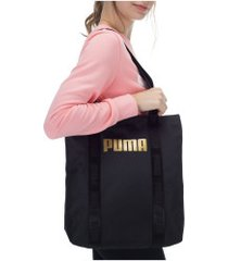 bolsa puma core base shopper - feminina - preto