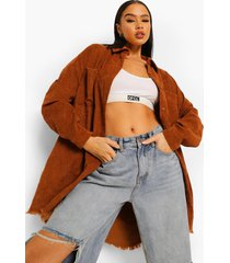 oversized corduroy blouse met gerafelde zoom, brown