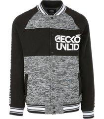 ecko unltd men's flyguy printed tape varsity jacket
