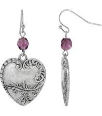 2028 women's pewter wire filigree heart earring