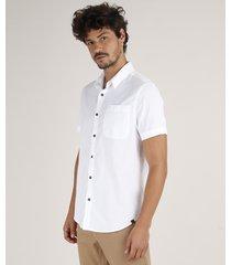 camisa masculina com bolso manga curta branca